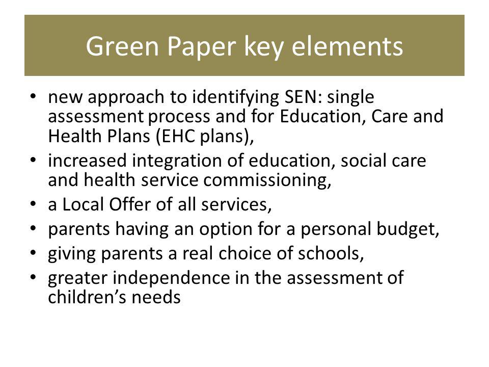 Green Paper key elements