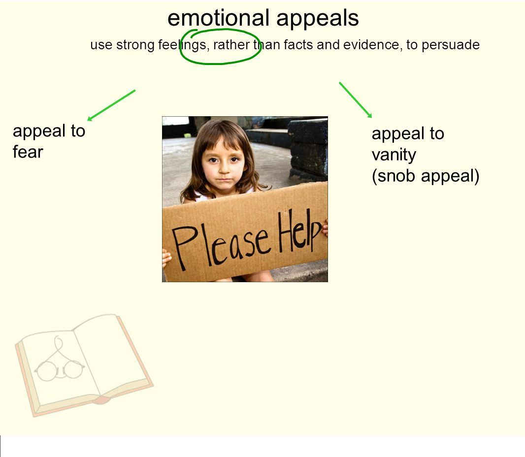 emotional appeals appeal to fear appeal to vanity (snob appeal)