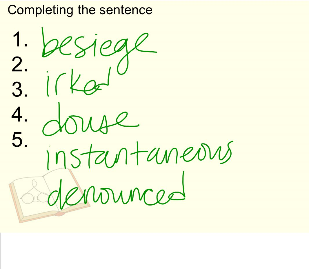 Completing the sentence