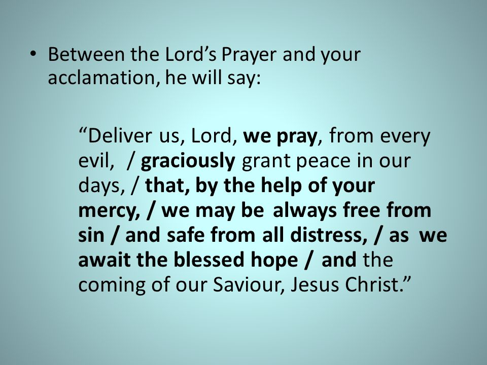 Between the Lord's Prayer and your acclamation, he will say: