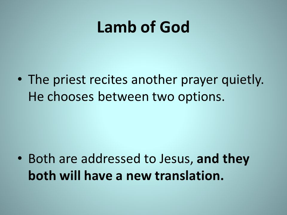 Lamb of God The priest recites another prayer quietly. He chooses between two options.