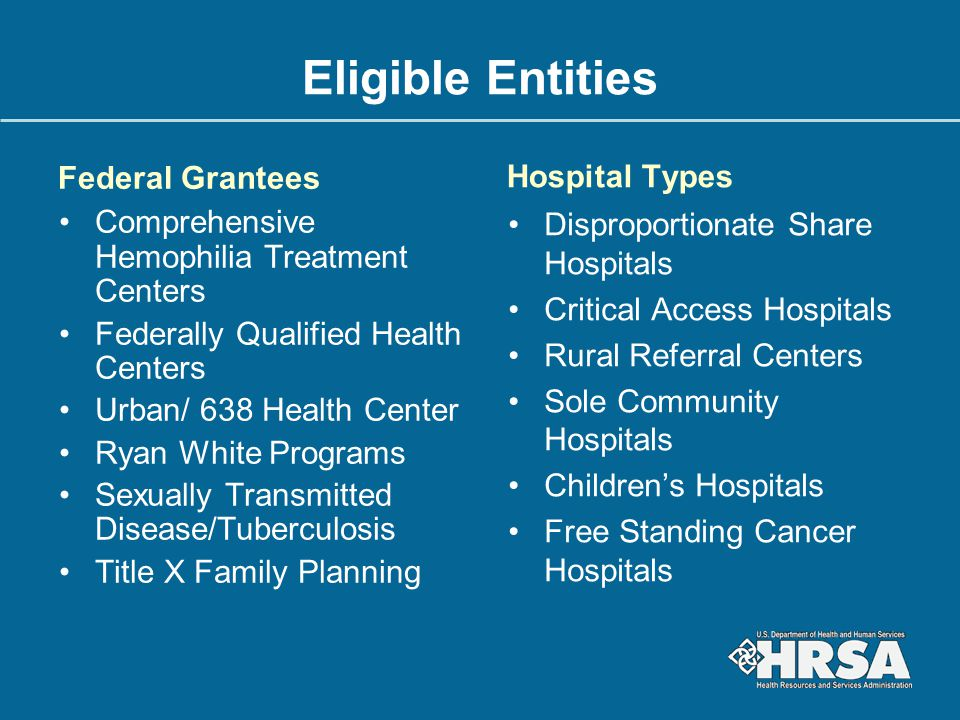 Eligible Entities Federal Grantees Hospital Types