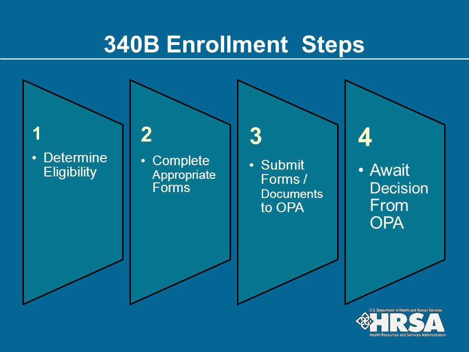 4 340B Enrollment Steps 3 2 1 Await Decision From OPA