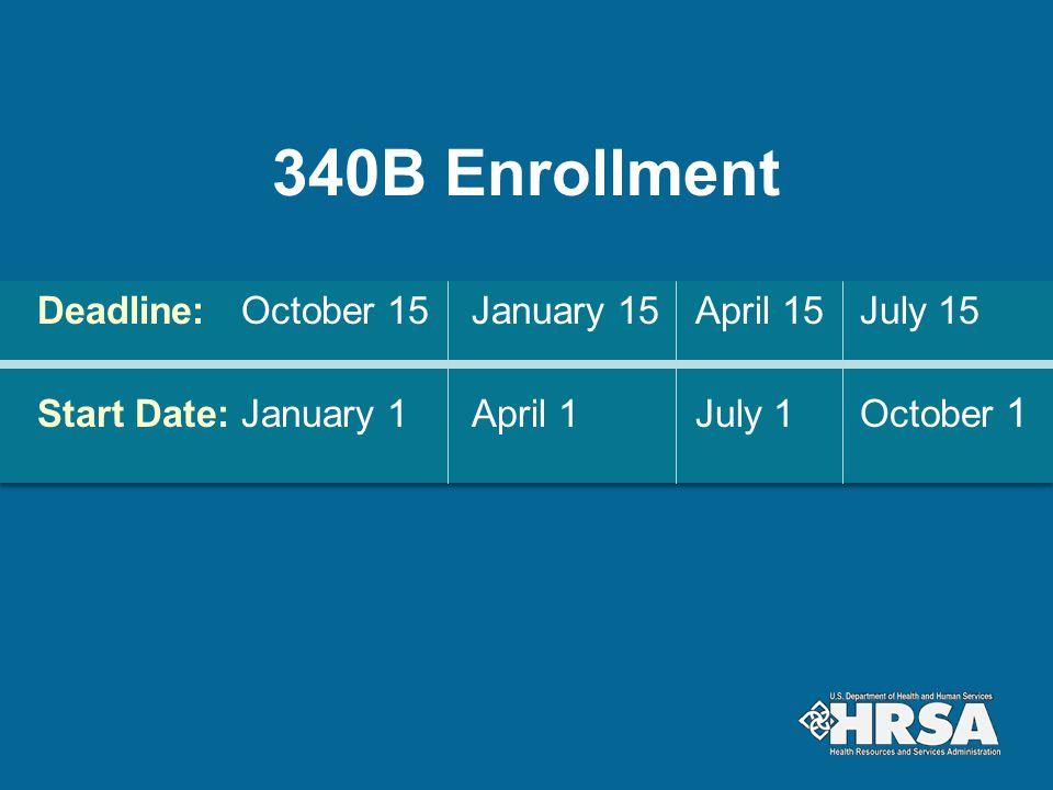 340B Enrollment Deadline: October 15 January 15 April 15 July 15 Start Date: January 1 April 1 July 1 October 1