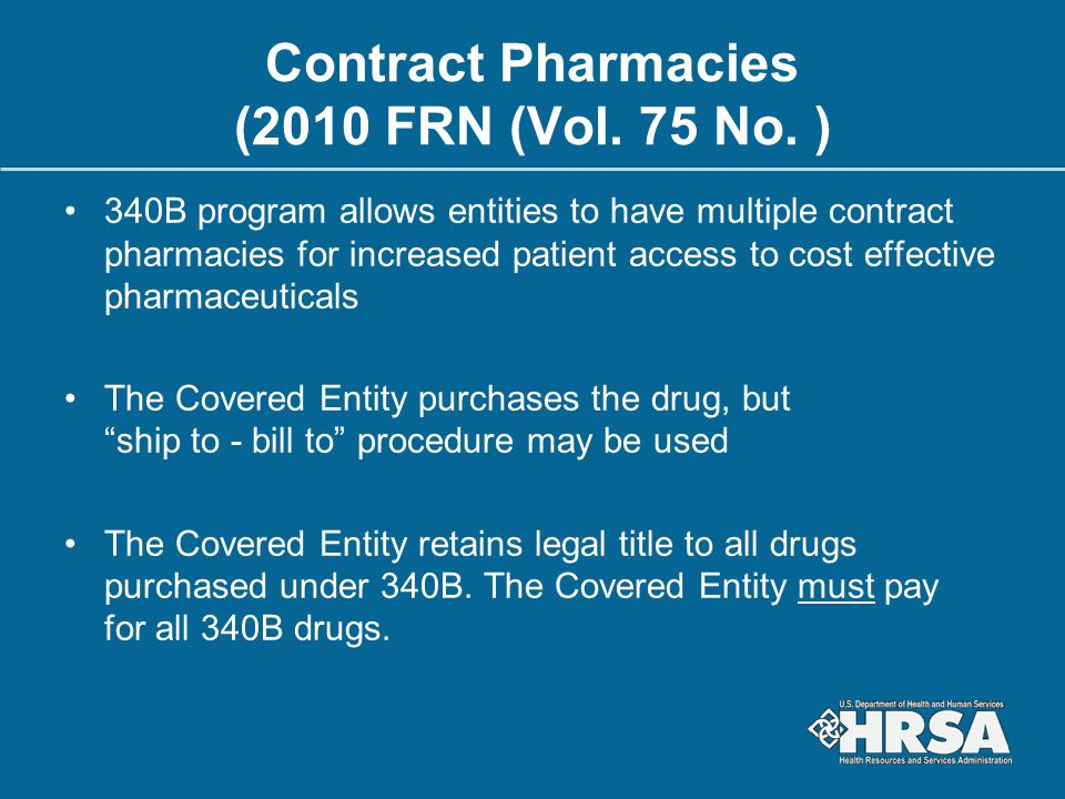 Contract Pharmacies (2010 FRN (Vol. 75 No. )