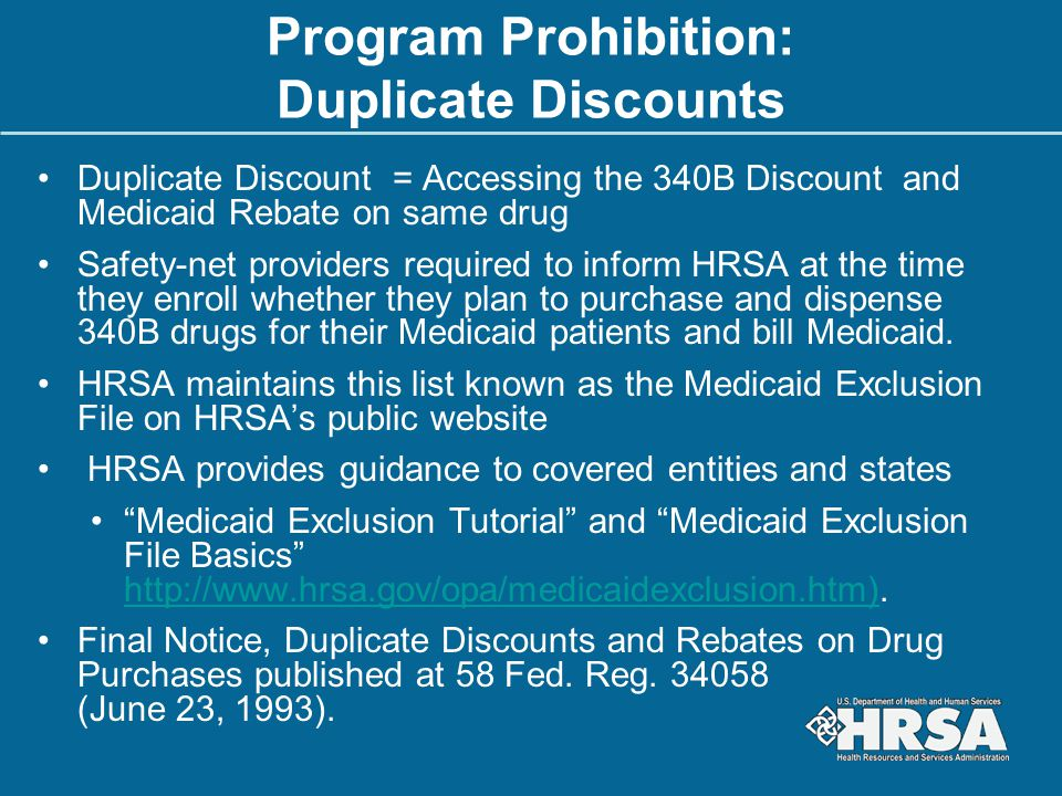 Program Prohibition: Duplicate Discounts