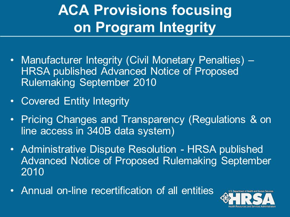 ACA Provisions focusing on Program Integrity
