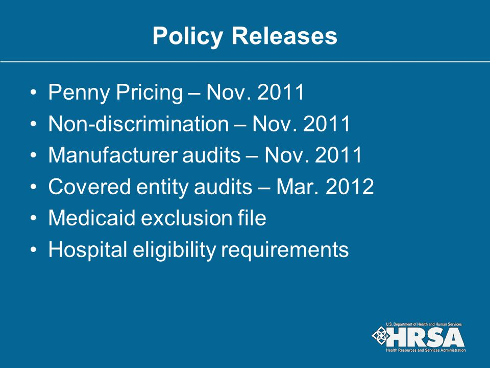 Policy Releases Penny Pricing – Nov. 2011