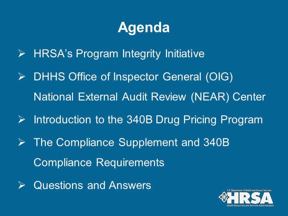 Agenda HRSA's Program Integrity Initiative