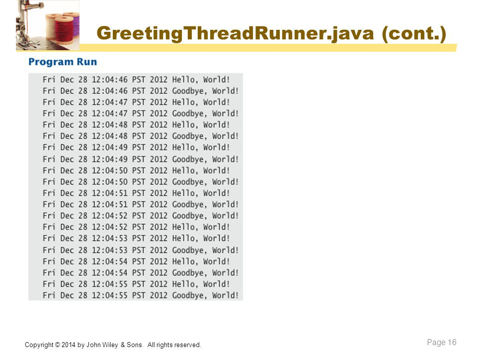GreetingThreadRunner.java (cont.)