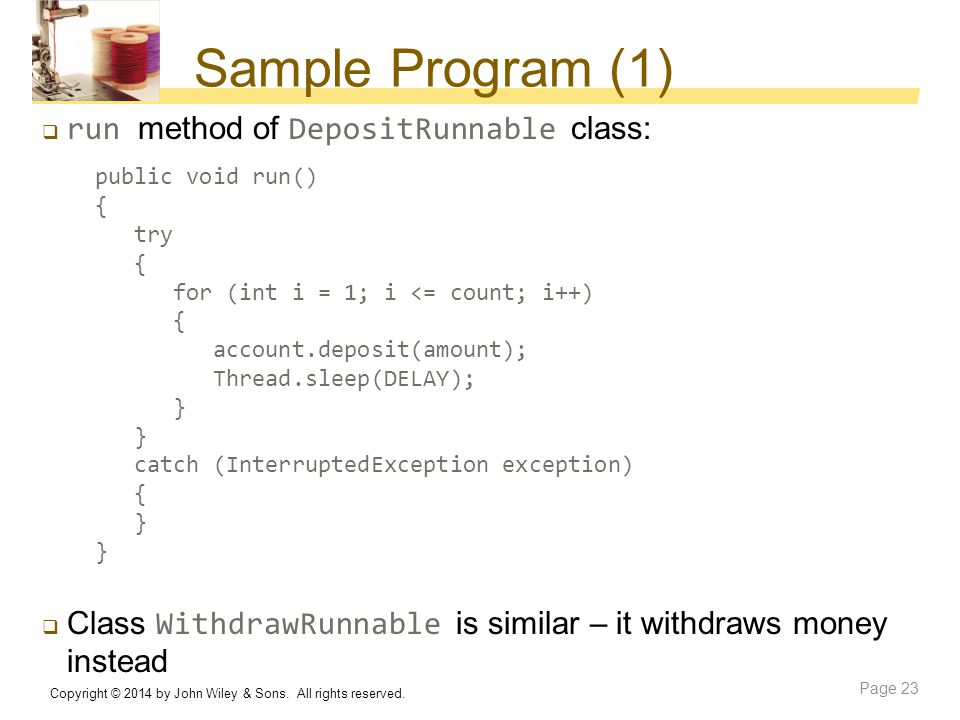 Sample Program (1) run method of DepositRunnable class: