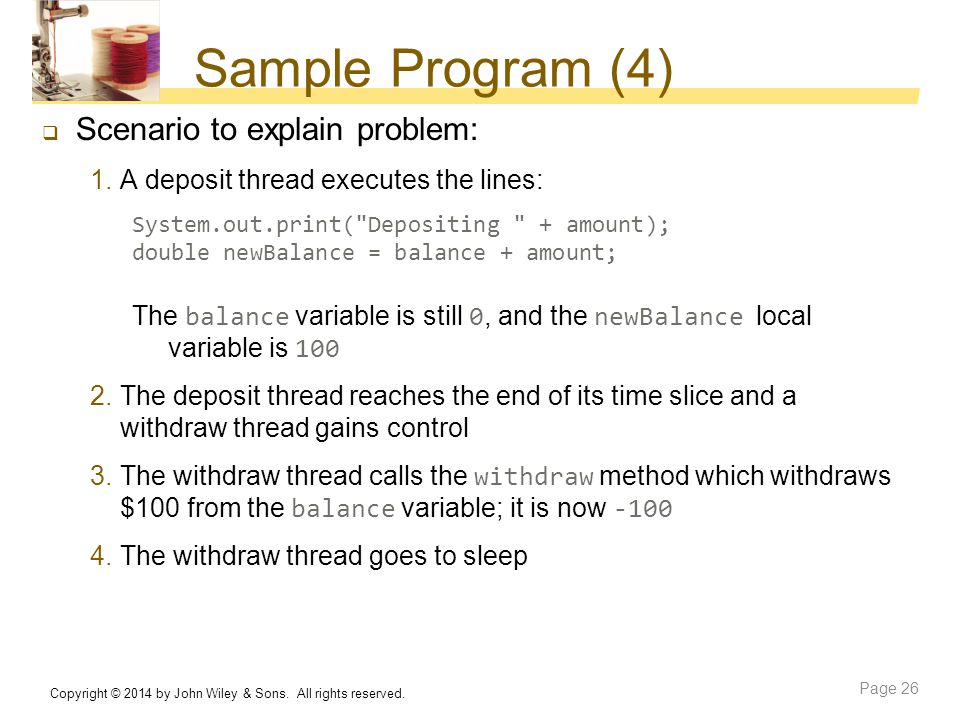 Sample Program (4) Scenario to explain problem: