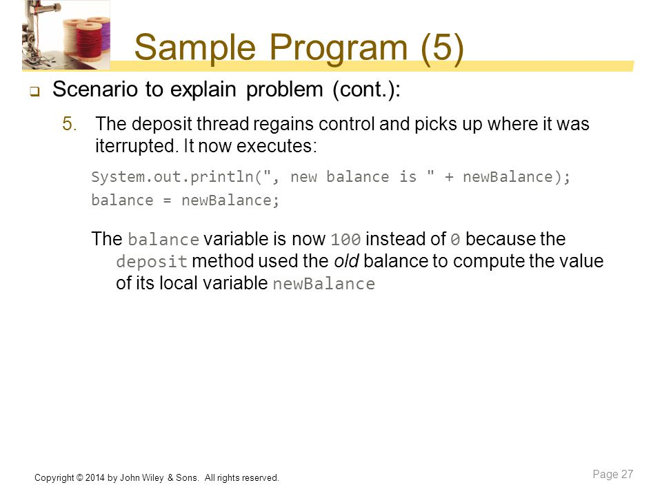 Sample Program (5) Scenario to explain problem (cont.):