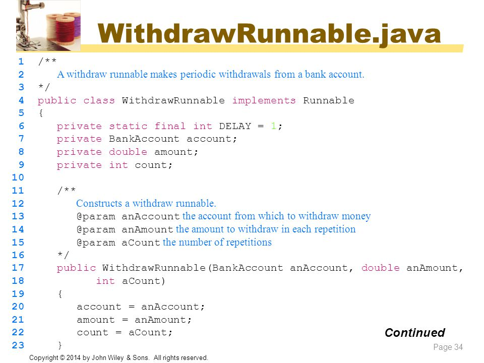 WithdrawRunnable.java Continued 1 /**