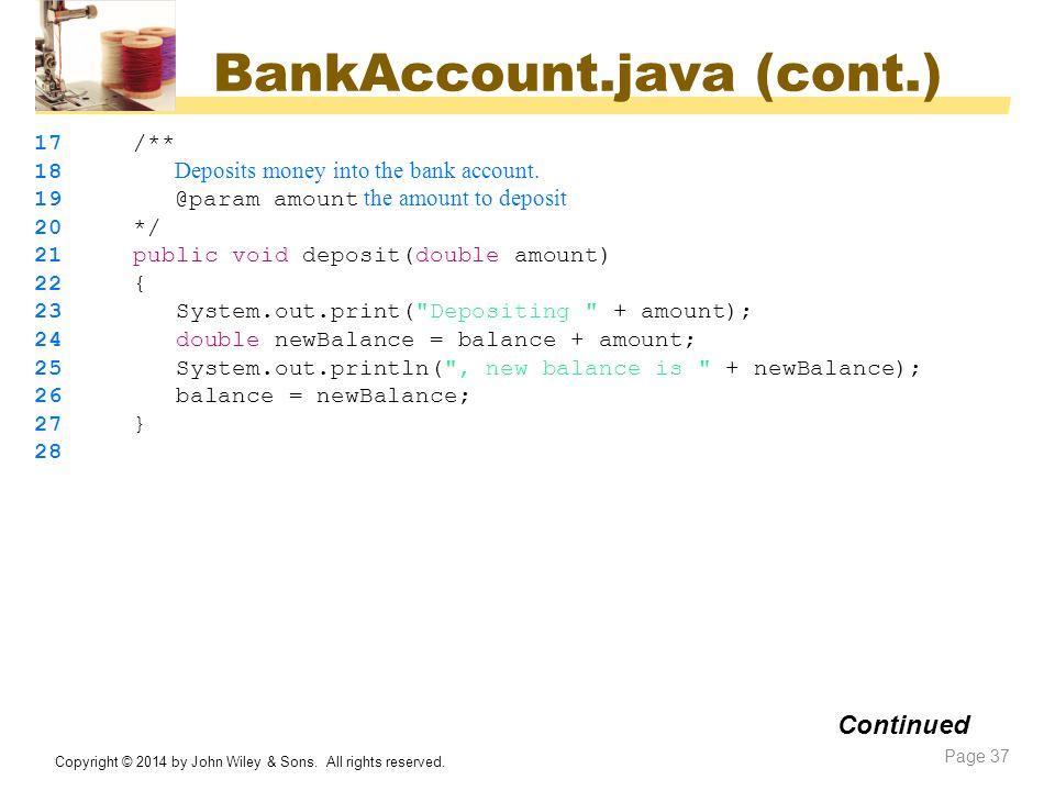BankAccount.java (cont.)