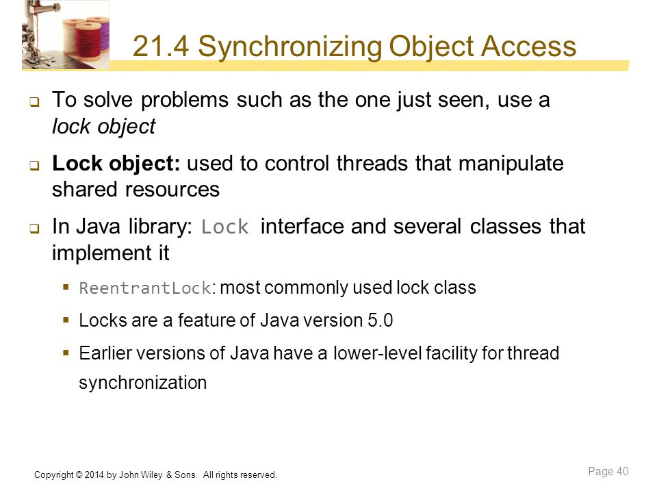 21.4 Synchronizing Object Access