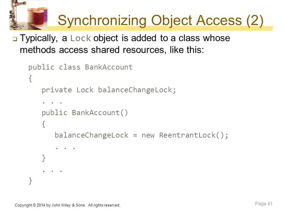 Synchronizing Object Access (2)
