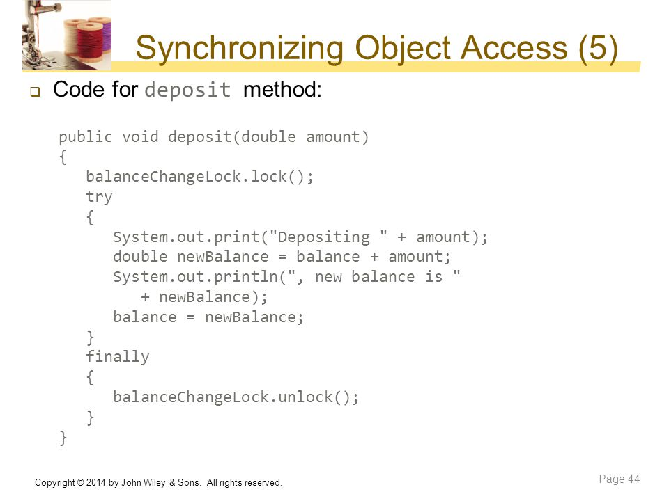 Synchronizing Object Access (5)