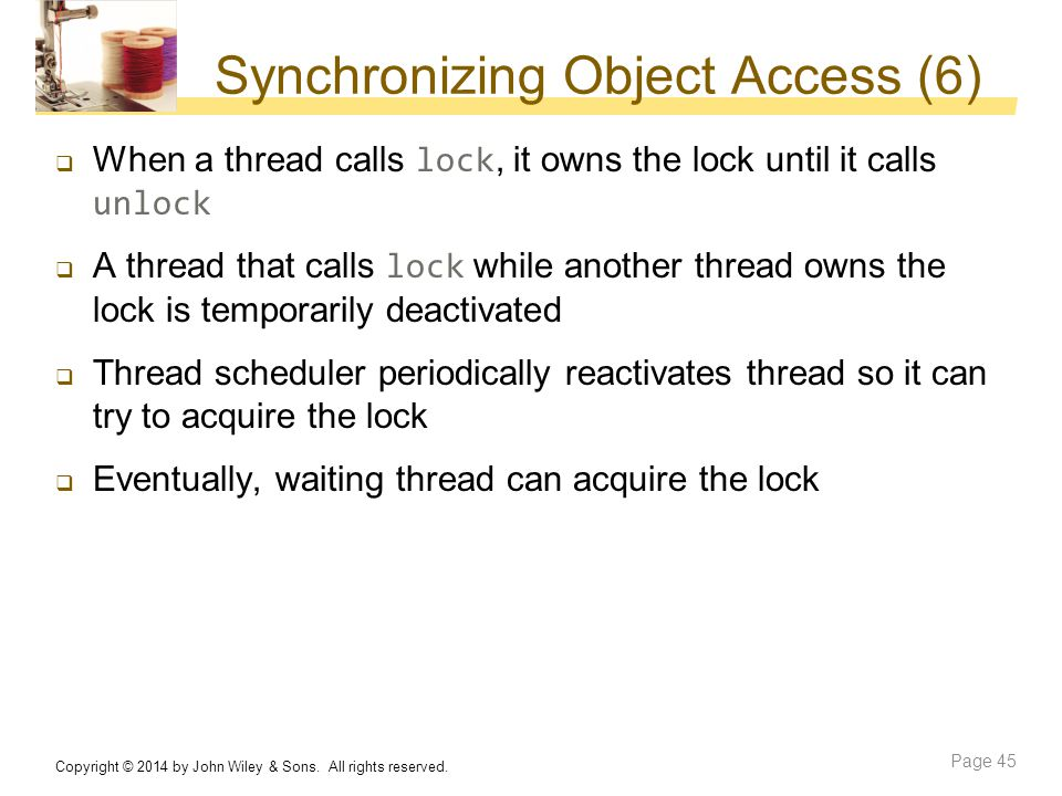 Synchronizing Object Access (6)