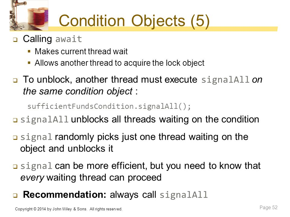 Condition Objects (5) Calling await