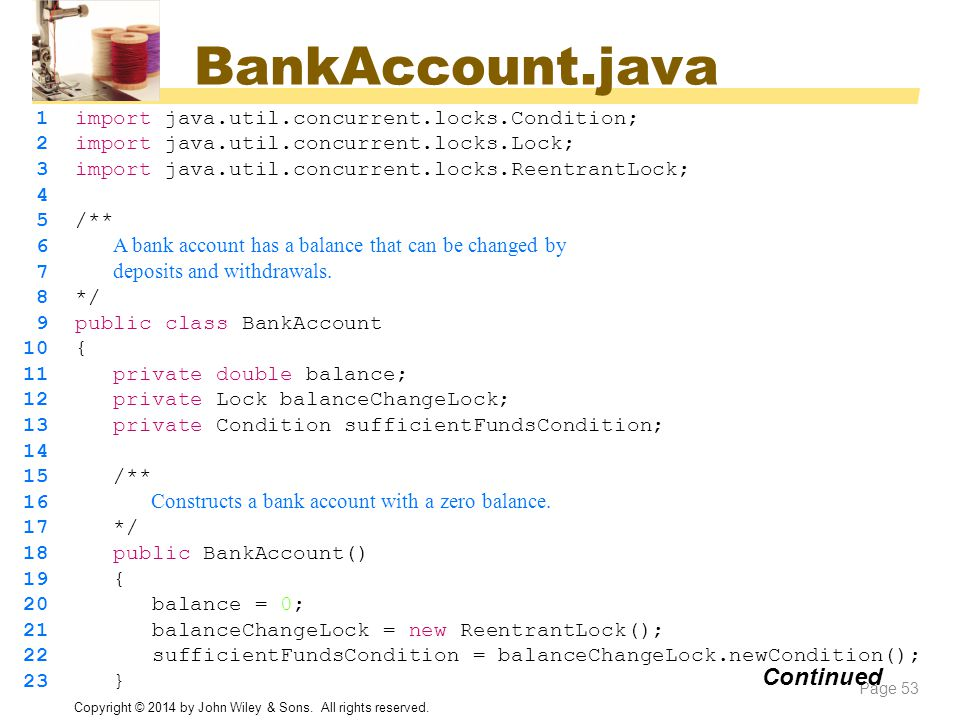 BankAccount.java Continued