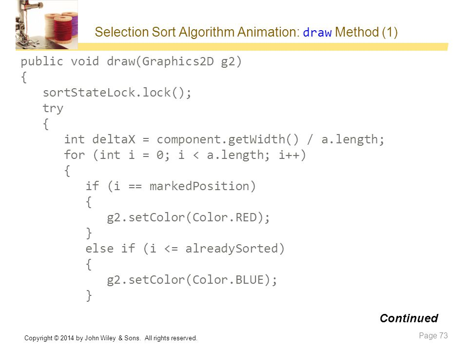 Selection Sort Algorithm Animation: draw Method (1)