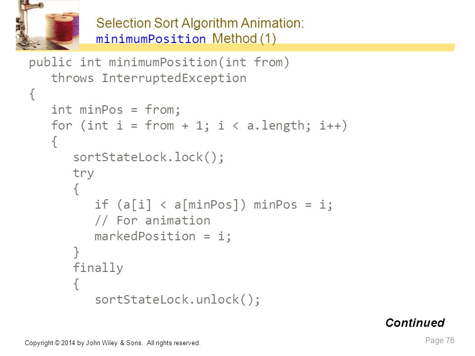 Selection Sort Algorithm Animation: minimumPosition Method (1)