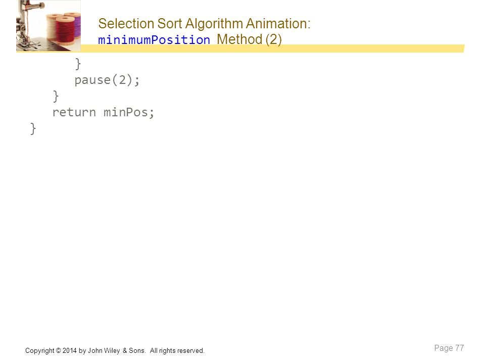 Selection Sort Algorithm Animation: minimumPosition Method (2)