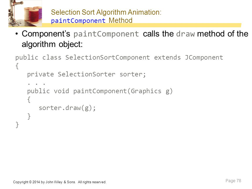 Selection Sort Algorithm Animation: paintComponent Method