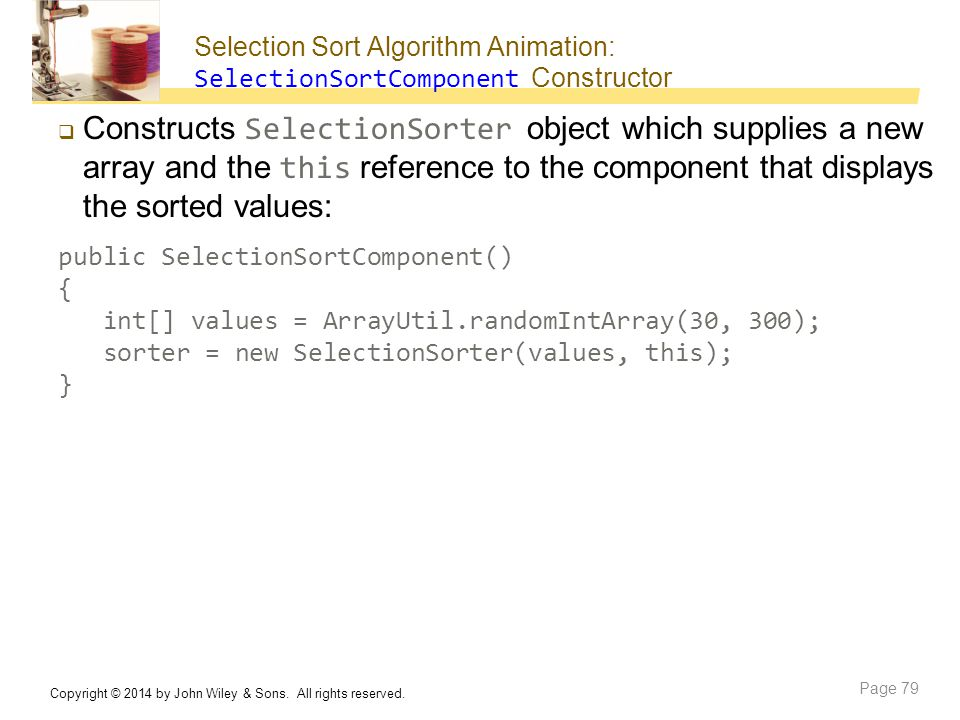 Selection Sort Algorithm Animation: SelectionSortComponent Constructor