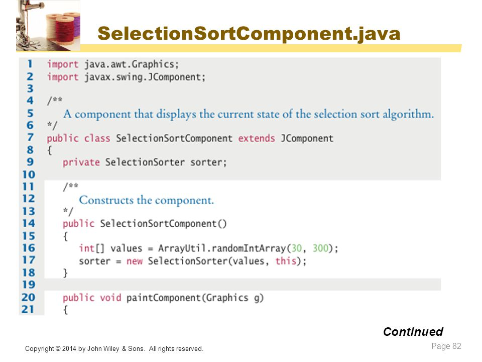 SelectionSortComponent.java Continued
