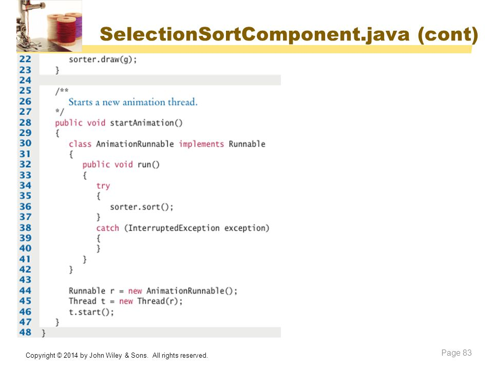 SelectionSortComponent.java (cont)