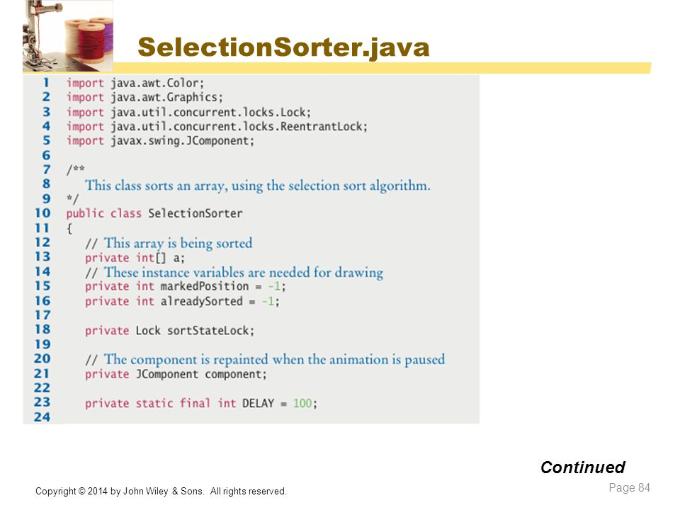 SelectionSorter.java Continued