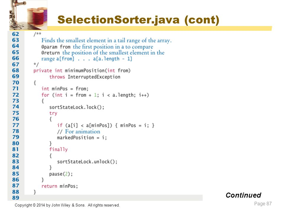 SelectionSorter.java (cont)