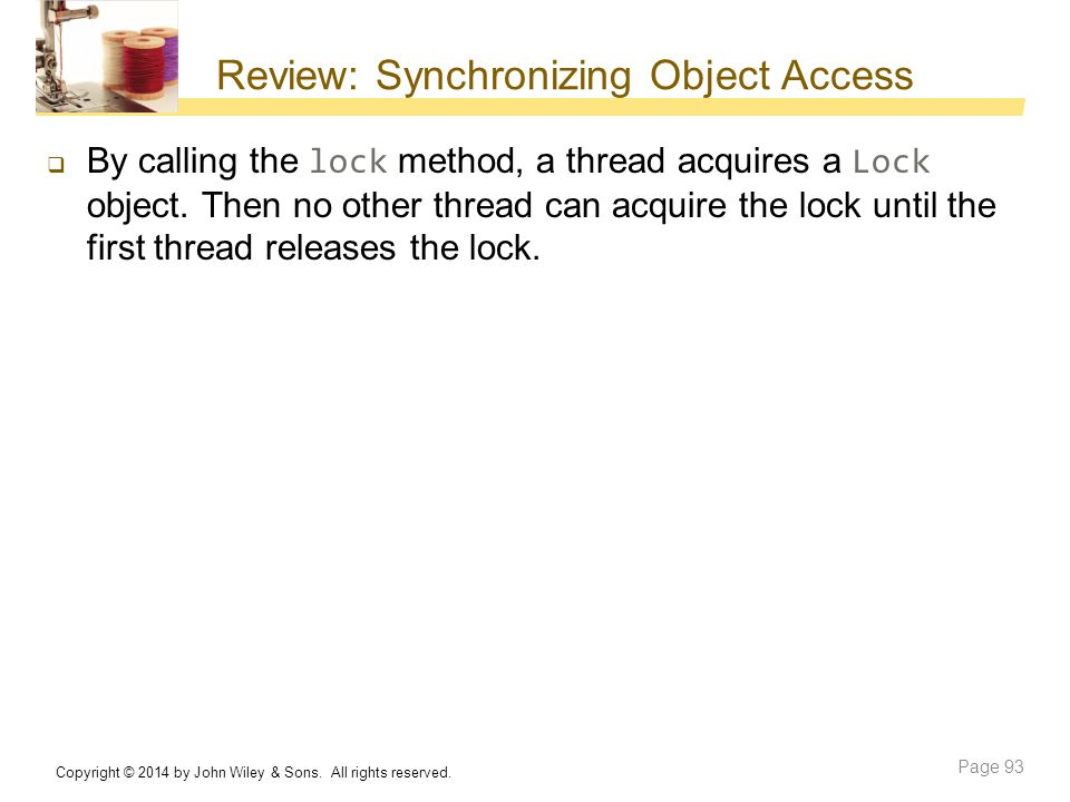 Review: Synchronizing Object Access