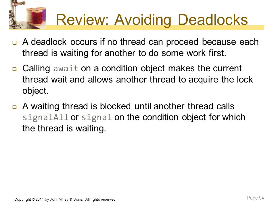 Review: Avoiding Deadlocks