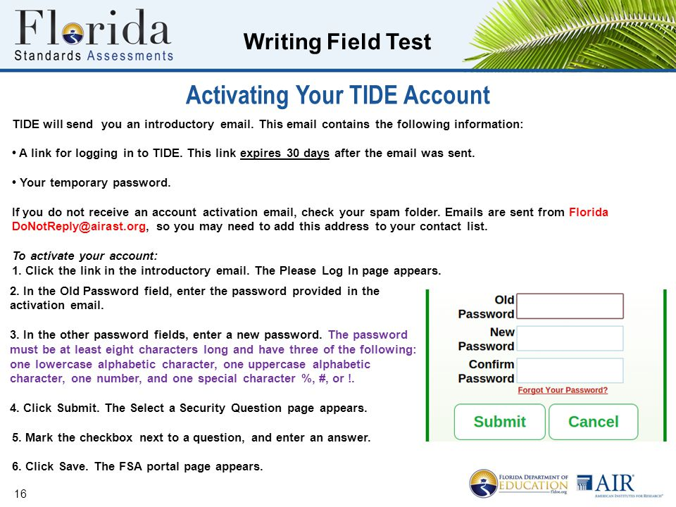 Activating Your TIDE Account