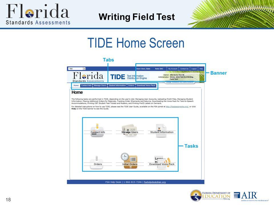 TIDE Home Screen