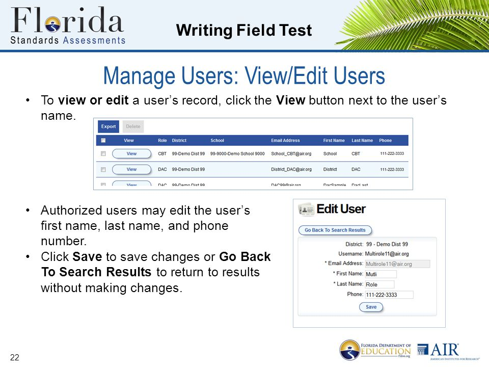 Manage Users: View/Edit Users