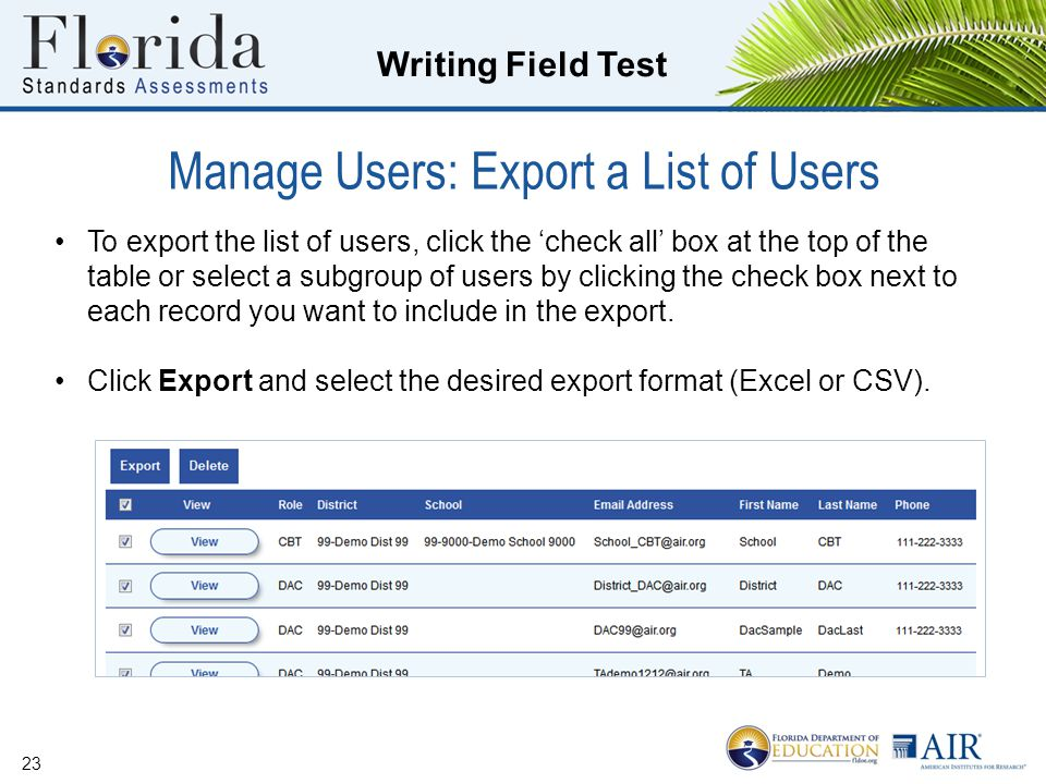 Manage Users: Export a List of Users