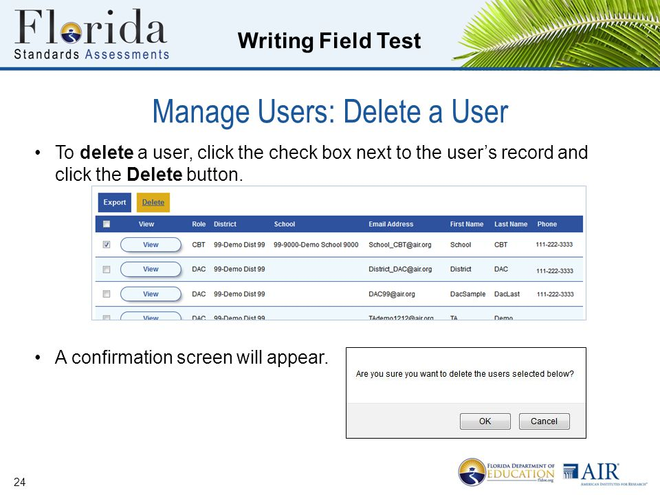 Manage Users: Delete a User