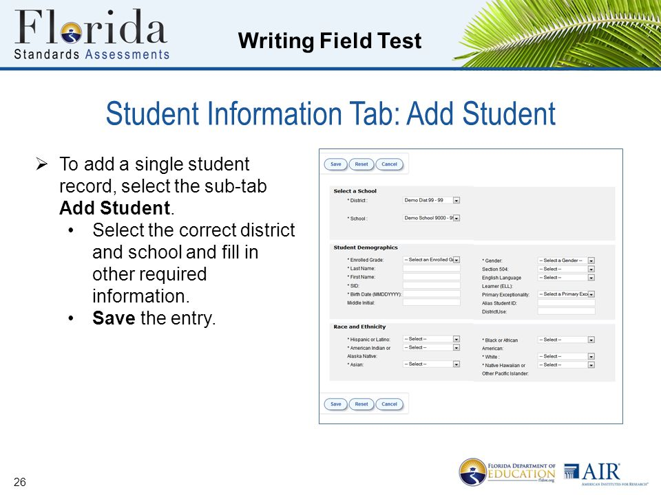 Student Information Tab: Add Student