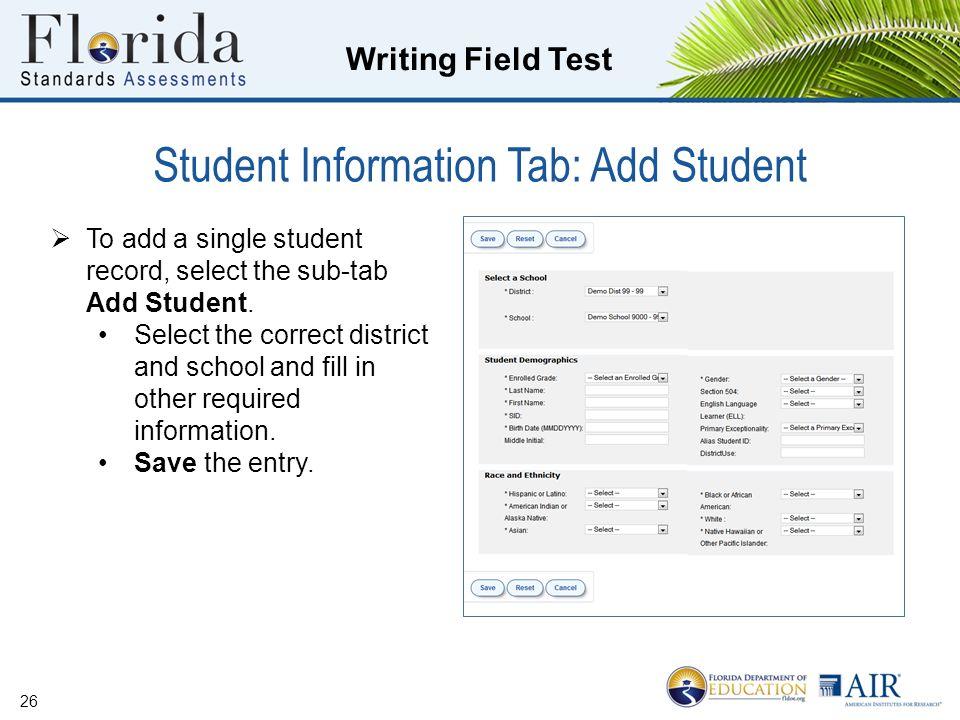 Student Information Tab: Add Student