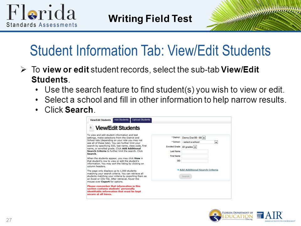Student Information Tab: View/Edit Students
