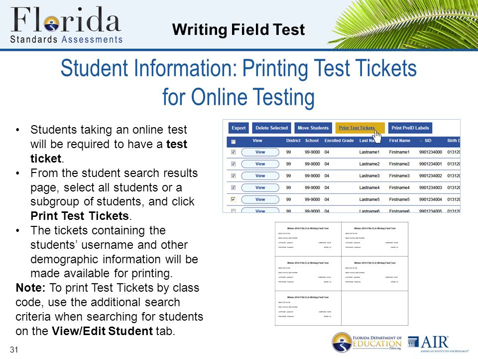 Student Information: Printing Test Tickets for Online Testing