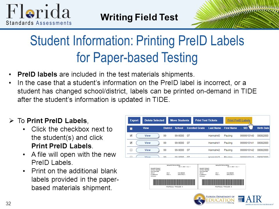 Student Information: Printing PreID Labels for Paper-based Testing