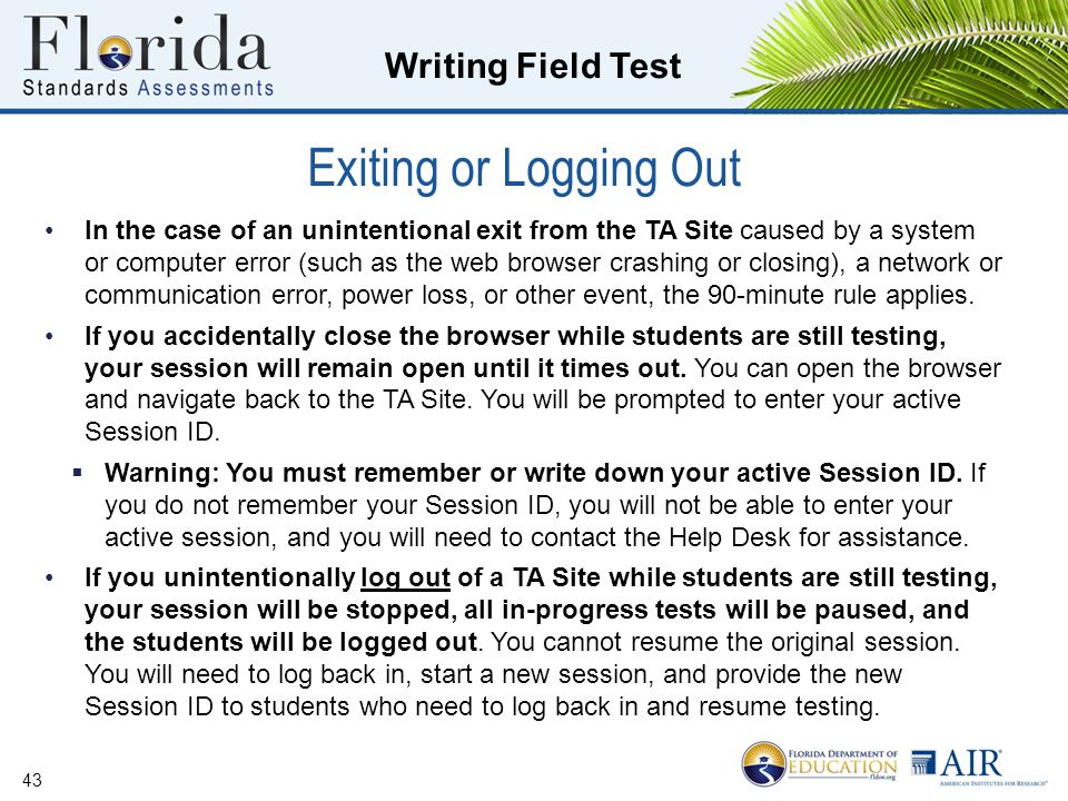 Exiting or Logging Out