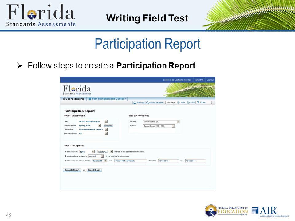Participation Report Follow steps to create a Participation Report.