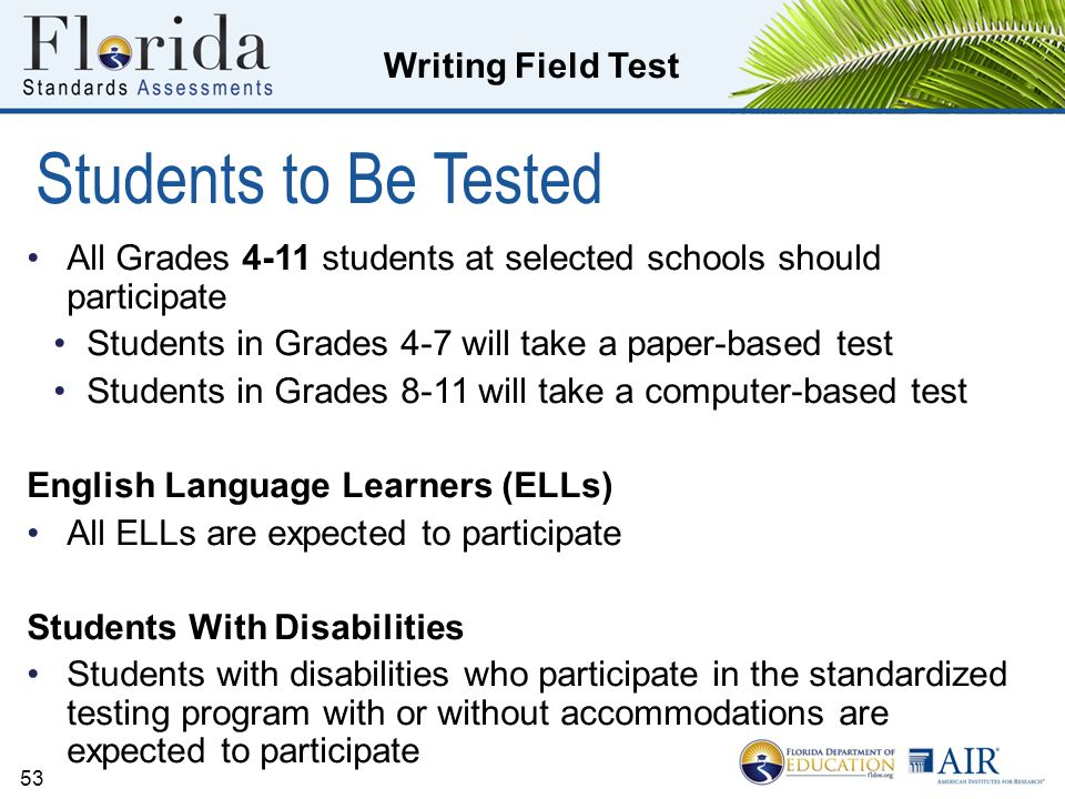 Students to Be Tested All Grades 4-11 students at selected schools should participate. Students in Grades 4-7 will take a paper-based test.