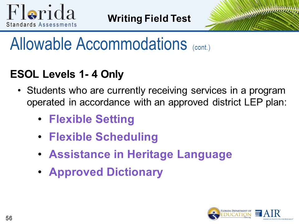 Allowable Accommodations (cont.)